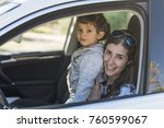 mother and baby son posing in... | Shutterstock . vector #760599067