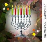 silver menorah on a mosaic...   Shutterstock .eps vector #760604827
