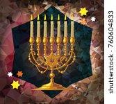 golden menorah on a mosaic...   Shutterstock .eps vector #760604833