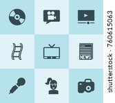 set of 9 media filled icons... | Shutterstock .eps vector #760615063