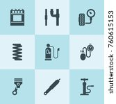 set of 9 pressure filled icons... | Shutterstock .eps vector #760615153