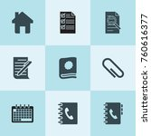 set of 9 page filled icons such ... | Shutterstock .eps vector #760616377
