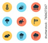 climate icons set with sunset ...   Shutterstock .eps vector #760627267