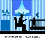 grandma reads the story of her... | Shutterstock .eps vector #760653883