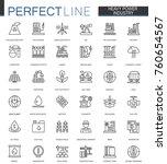 heavy power industry thin line...   Shutterstock . vector #760654567