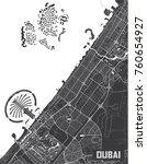 minimalistic dubai city map... | Shutterstock .eps vector #760654927