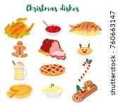 set of 12 traditional christmas ... | Shutterstock .eps vector #760663147