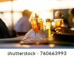 cocktail party in outdoor cafe... | Shutterstock . vector #760663993