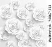paper flower. white roses cut... | Shutterstock .eps vector #760674853