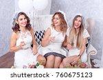 happy girls having fun drinking ... | Shutterstock . vector #760675123