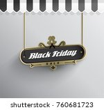 hanging black friday sale sign... | Shutterstock .eps vector #760681723