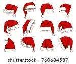 christmas santa claus hat... | Shutterstock .eps vector #760684537
