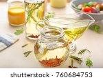 jar and gravy boat with tasty...   Shutterstock . vector #760684753