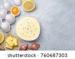 homemade basic french sauce... | Shutterstock . vector #760687303
