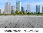 empty pavement and modern...   Shutterstock . vector #760691353