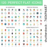 120 modern flat icon set of... | Shutterstock .eps vector #760696687