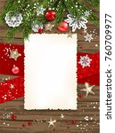 holiday christmas card with fir ... | Shutterstock .eps vector #760709977