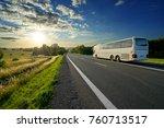 white bus traveling on the... | Shutterstock . vector #760713517