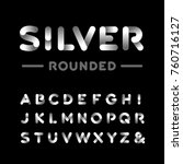 silver rounded font. alphabet... | Shutterstock . vector #760716127