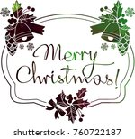 christmas label with silhouette ...   Shutterstock .eps vector #760722187