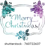 christmas label with silhouette ...   Shutterstock .eps vector #760722637