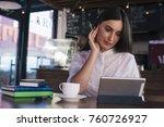 very beautiful girl freelancer... | Shutterstock . vector #760726927
