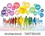 sale. colorful shopping crowd....   Shutterstock .eps vector #760730143