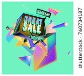 vector abstract 3d great sale... | Shutterstock .eps vector #760734187