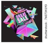 vector abstract 3d great sale... | Shutterstock .eps vector #760734193