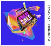 vector abstract 3d great sale... | Shutterstock .eps vector #760734217