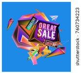 vector abstract 3d great sale... | Shutterstock .eps vector #760734223