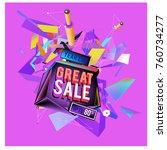 vector abstract 3d great sale... | Shutterstock .eps vector #760734277