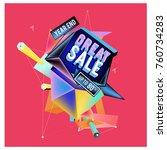 vector abstract 3d great sale... | Shutterstock .eps vector #760734283