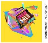 vector abstract 3d great sale... | Shutterstock .eps vector #760734307