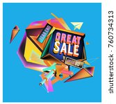 vector abstract 3d great sale... | Shutterstock .eps vector #760734313