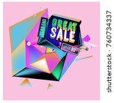 vector abstract 3d great sale... | Shutterstock .eps vector #760734337