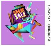 vector abstract 3d great sale... | Shutterstock .eps vector #760734343