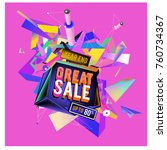 vector abstract 3d great sale... | Shutterstock .eps vector #760734367