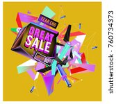 vector abstract 3d great sale... | Shutterstock .eps vector #760734373