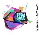 vector abstract 3d great sale... | Shutterstock .eps vector #760734403