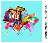 vector abstract 3d great sale... | Shutterstock .eps vector #760734427