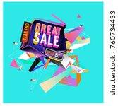 vector abstract 3d great sale... | Shutterstock .eps vector #760734433