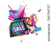 vector abstract 3d great sale... | Shutterstock .eps vector #760734727