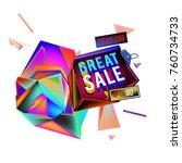 vector abstract 3d great sale... | Shutterstock .eps vector #760734733