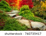 stepping stones lead towards...   Shutterstock . vector #760735417