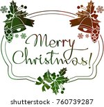 christmas label with silhouette ...   Shutterstock .eps vector #760739287