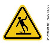 caution wet floor sign on white ... | Shutterstock .eps vector #760745773