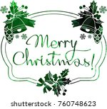 christmas label with silhouette ...   Shutterstock .eps vector #760748623