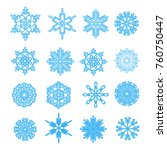big set of snowflakes. template ... | Shutterstock .eps vector #760750447