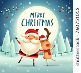 merry christmas  santa claus... | Shutterstock .eps vector #760751053
